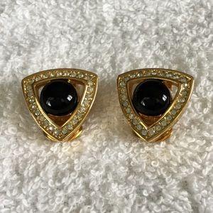 Dior Gold, Crystal Black Enamel Clip Earrings